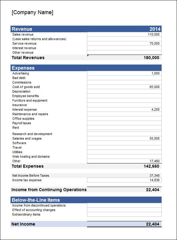 sample income statement template