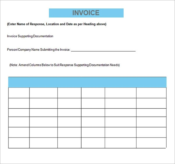 free printable invoice form template