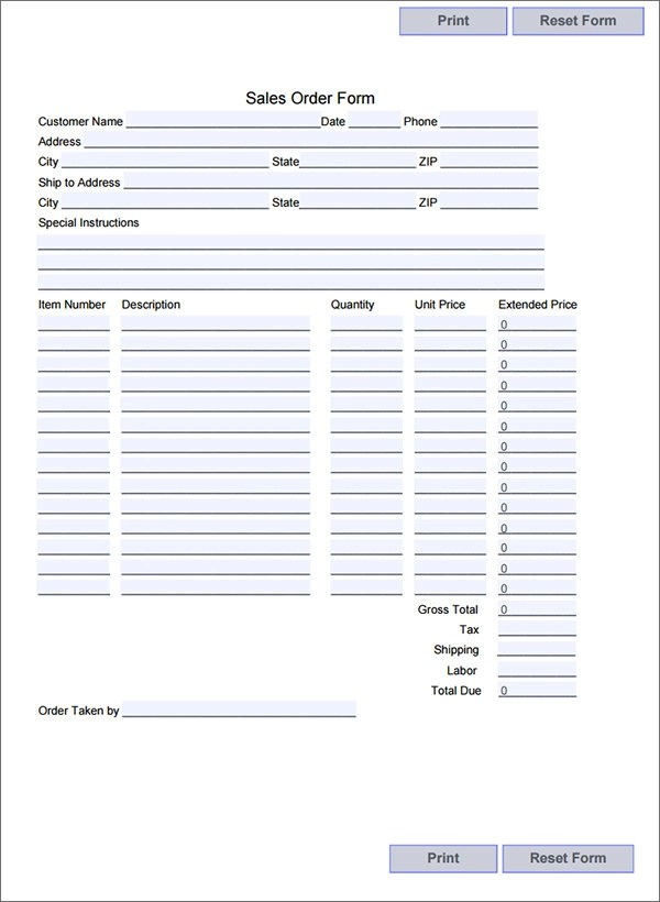 restaurant order form template - shipping form templates