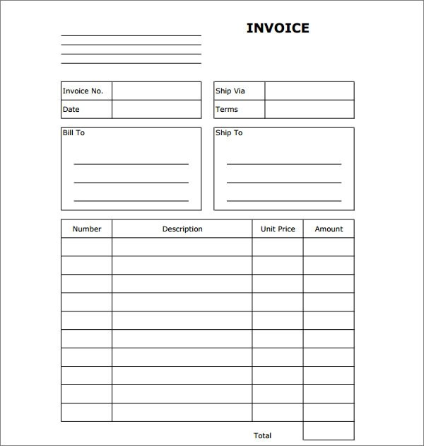 free blank sample invoice templates - free invoice word template