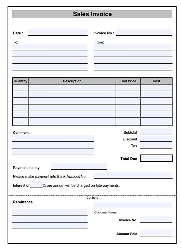 blank invoice template - blank invoice samples