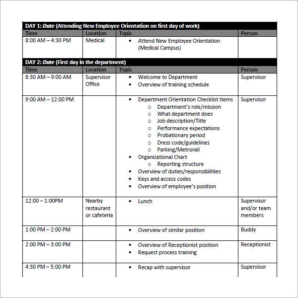 sample training schedule template