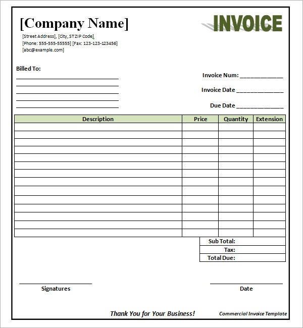 sample invoice template word doc