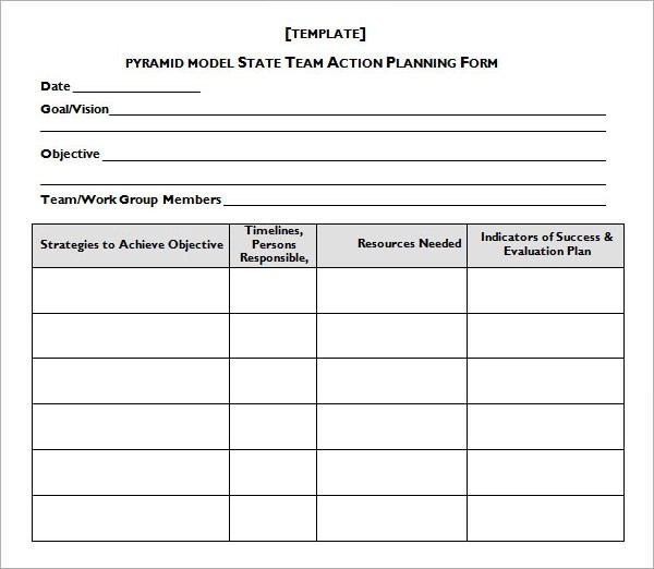 sample action plan template word - action plan work sheet