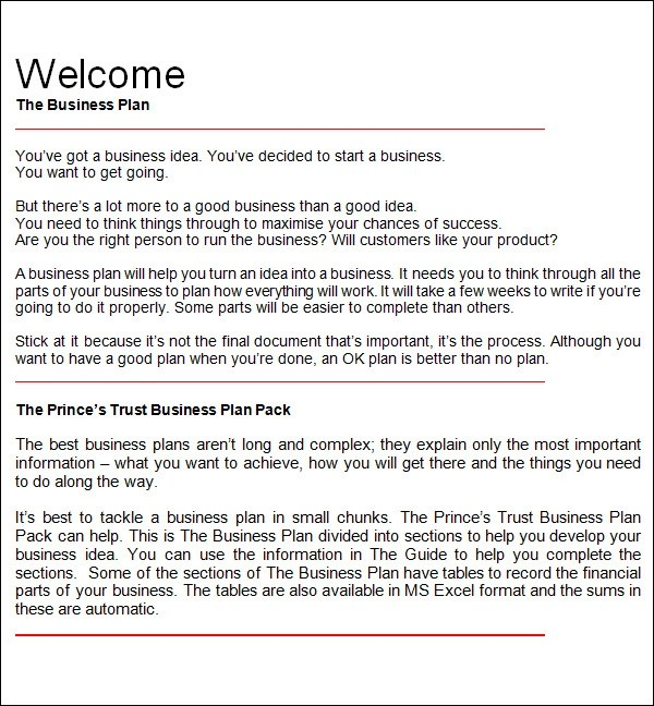 free sample business plan template - sample work plans
