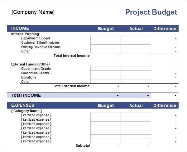 project budget template excel - project budget spreadsheet
