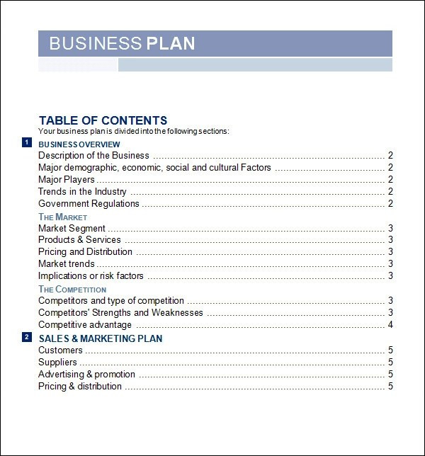 free sample business plan template
