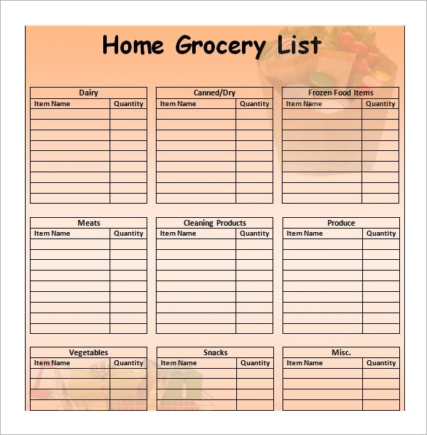 simple grocery list template - blank grocery list templates