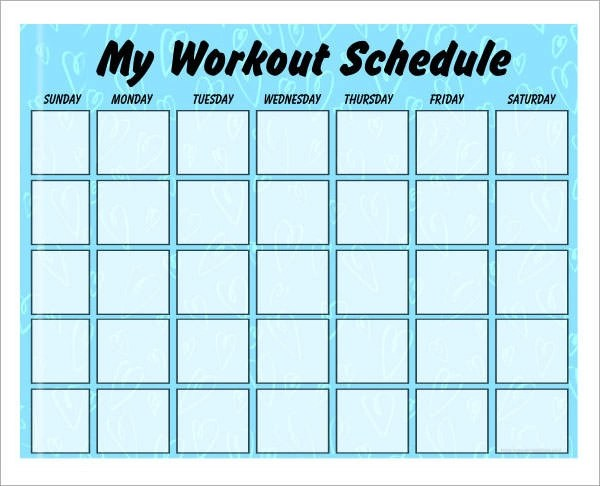 exercise weekly schedule template - sample training calendar format