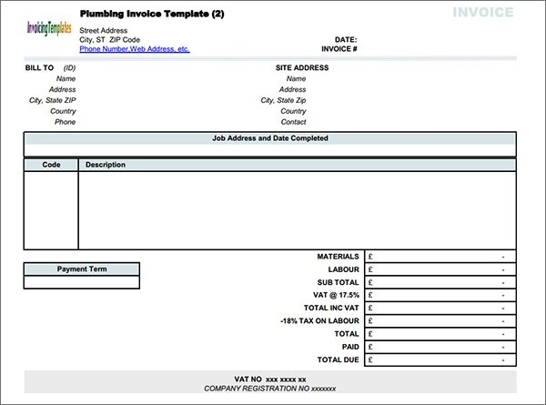 plumbinginvoicetemplatejpg - plumbers invoice template