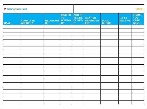 wedding guest list spreadsheet template - free printable guest list
