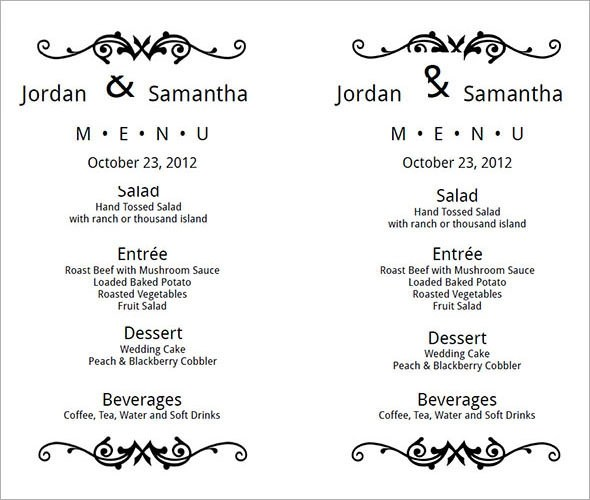 wedding menu templates free