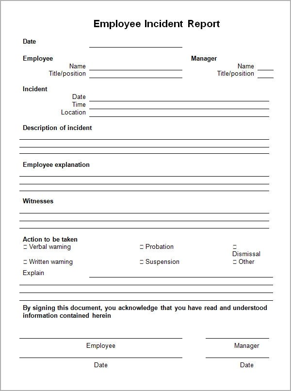 employee incident report form template - Accident Report Template