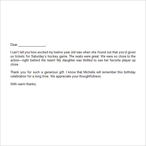 sample gift letter template - thank you letter for gift