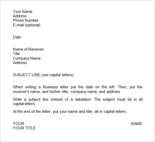 sample business letter template