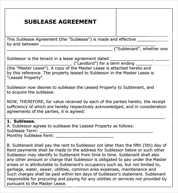 sublease agreement template - Sample Sublease Agreement