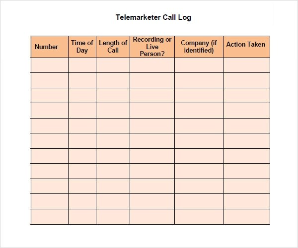 sales call log template excel - log templates excel