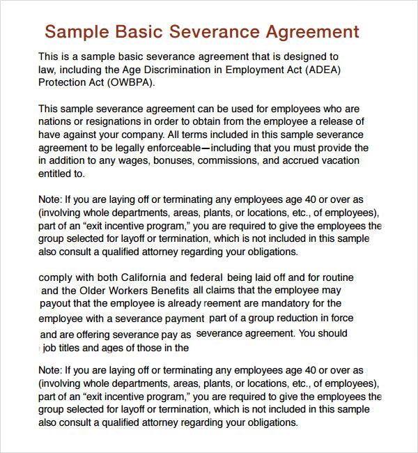severance general release agreement template - sample severance agreement
