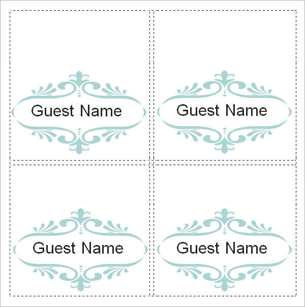 fold over place card template