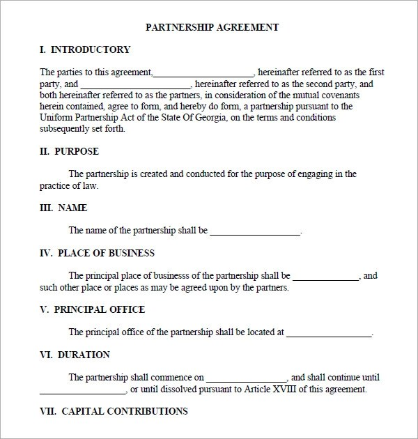 business partnership contract template