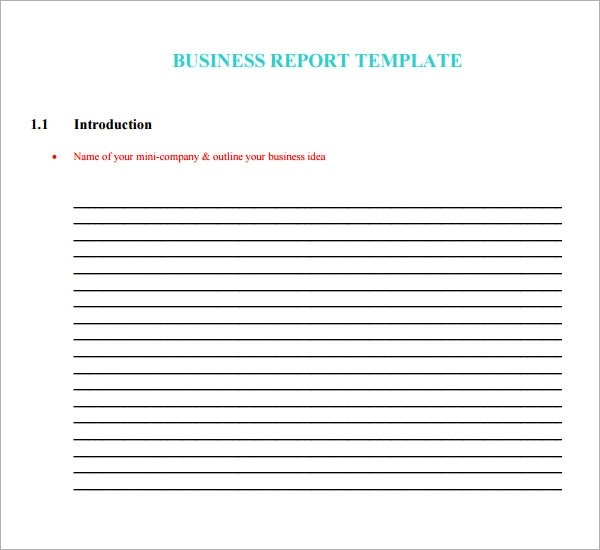 sample business report template - company report template