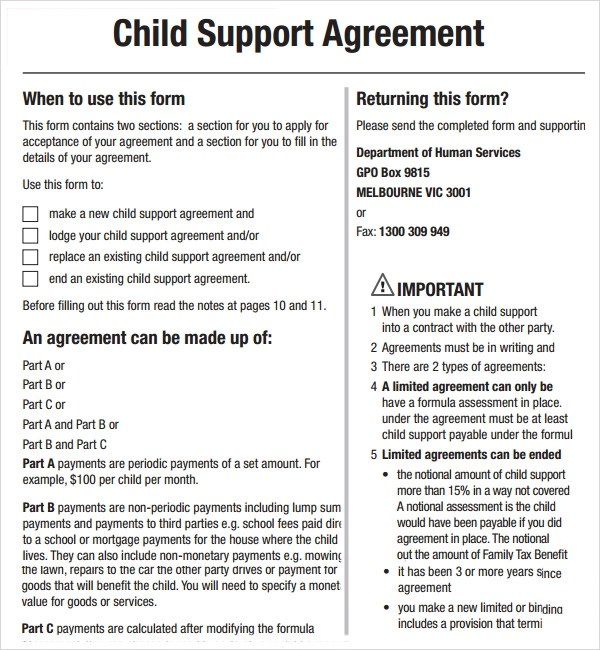 parent child contract template