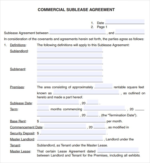 sample commercial lease agreement template