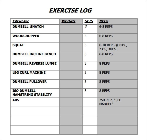 workout log template pdf - sample research log template