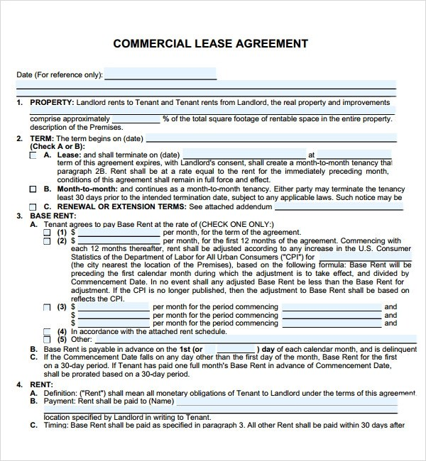 rental agreement template free download - commercial lease agreements