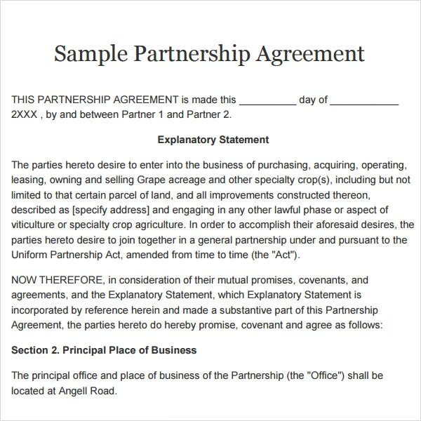 business partnership agreement template free - Free Partnership Agreement Form
