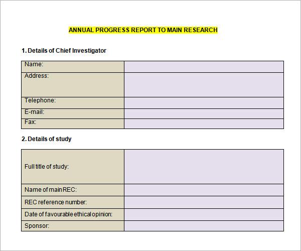 school progress report template