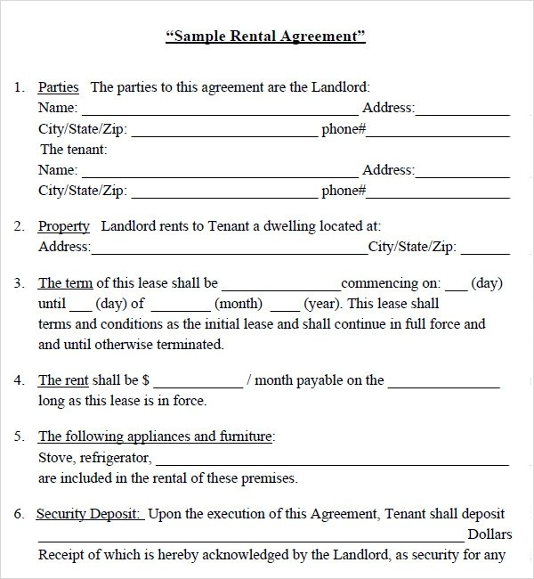 house rent agreement template - Free Rent Lease Agreement