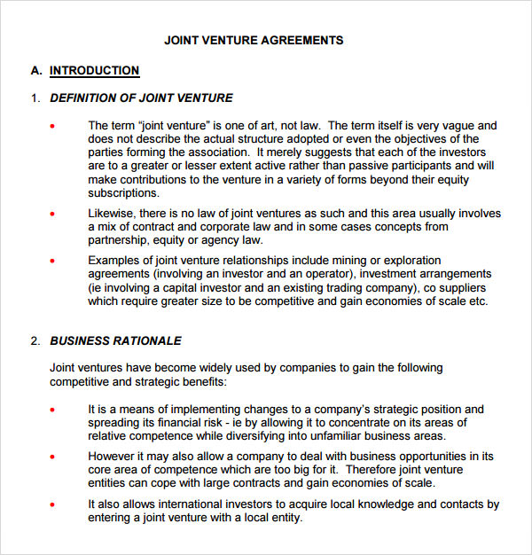 joint venture agreement template free - investor contract template free