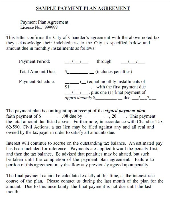 agreement form template - payment agreement contract