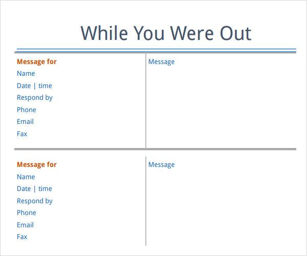 phone message memo template