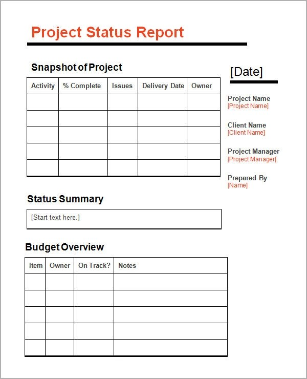sample project status report template