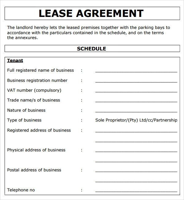 Lease Agreement Template | colbro.co