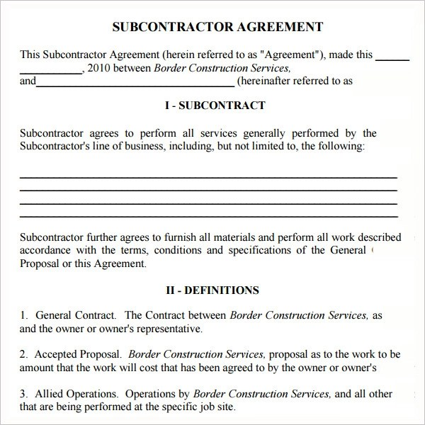 Subcontractor Agreement Template Free free subcontractor agreement - subcontractor agreement