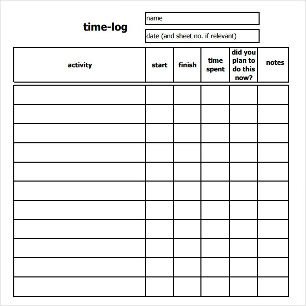 time sheets templates - work log sheets