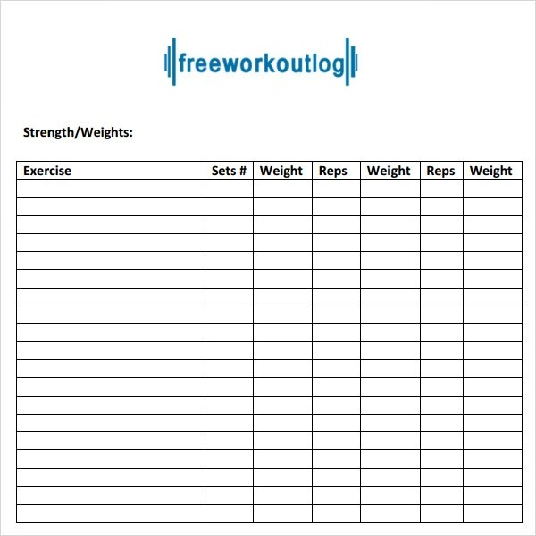 workout log template pdf - Weight Training Log Template