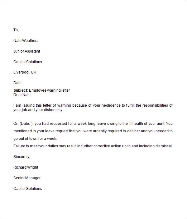employee warning letter template - Employee Letter Templates