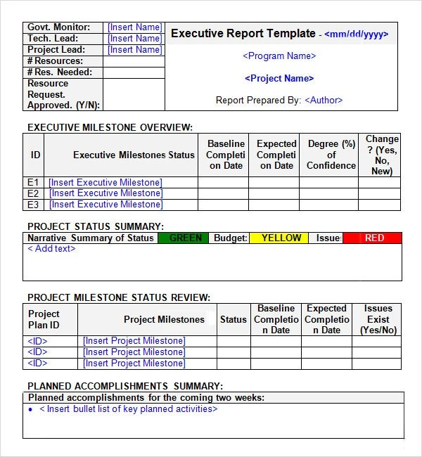 executive status report template - executive report template