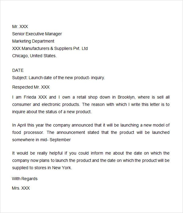 inquiry letter template