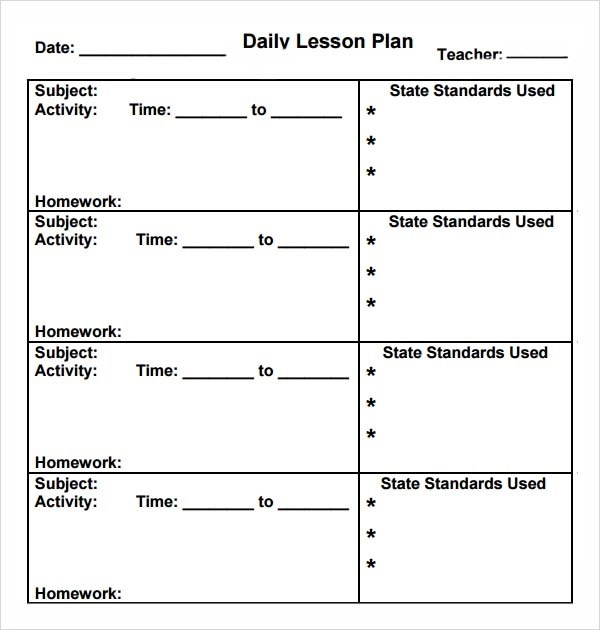 teacher lesson plan template word - daily lesson plan template
