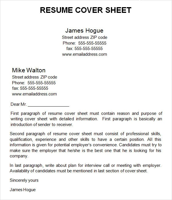 resume cover page template - cover sheet for resume