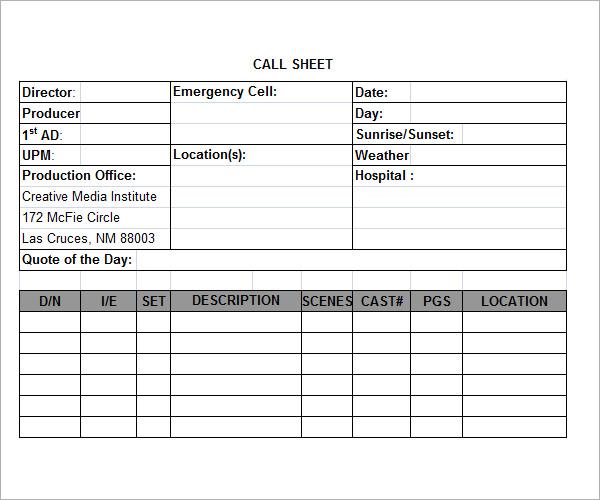 call sheet template printable - call sheet template