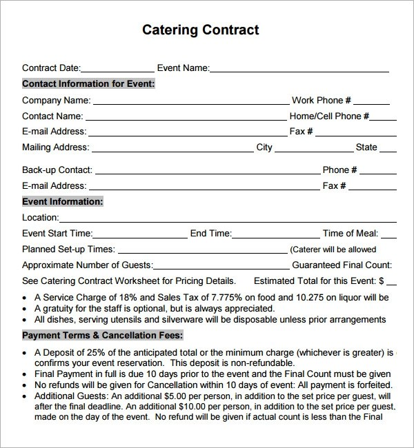 sample catering contract template - legal contracts template