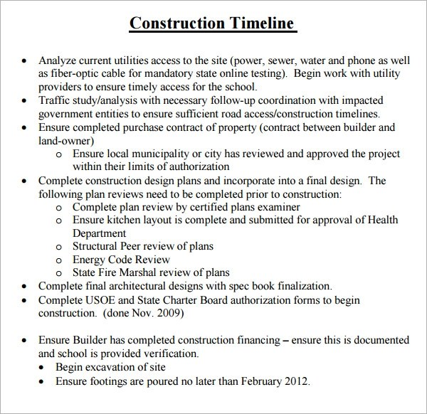 construction timeline template - timeline sample
