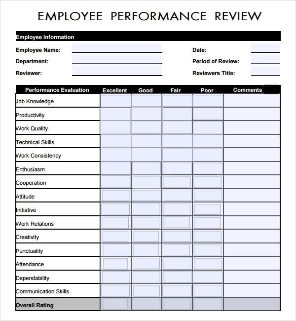 employment performance review forms