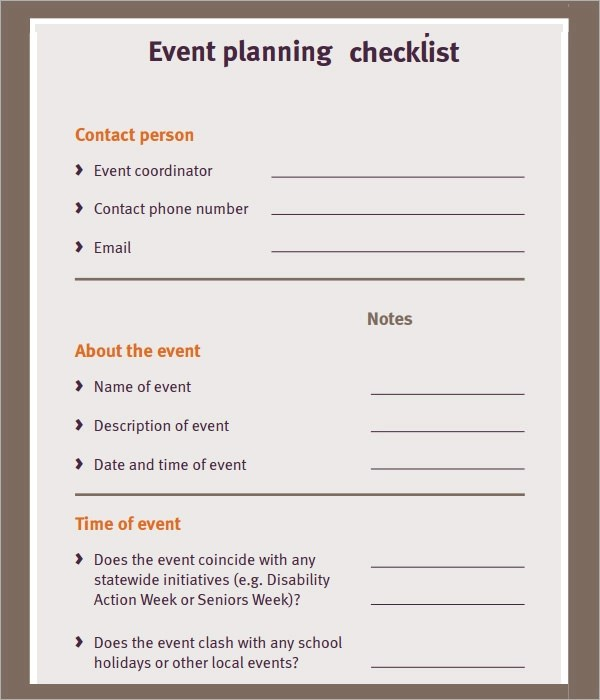 free event planning checklist template - Event Planning Document Template